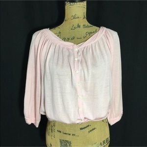 Anthropologie S Cardigan GUINEVERE Pink Wool Bl